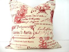 Pillow Cover French Red Sand Beige Script Coral by PookieandJack, $15.00