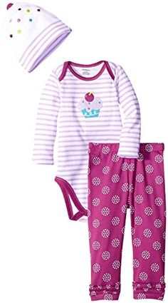Gerber Girls 3 Piece Bodysuit Cap and Pant Set Cupcake 69 Months * Want to know more, click on the image.