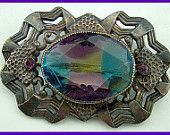 "Vintage Brooch Pin Art Nouveau Rainbow Glass Rhinestone Silver Metal 2.5"""