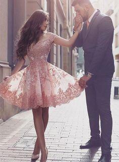 Gorgeous Short Sleeve Prom Dress,Short Dress,Lace 2017 Homecoming Dress Short Tulle Prom Dress,A-line Prom Dress,Mini Dresses,L101