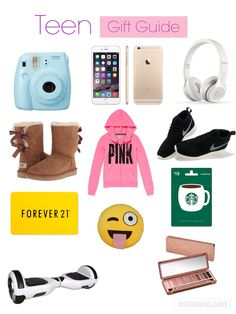 Instax Mini 8 ~ $60-$90  iPhone 6s ~ $600-$800  Beats Solo 2 Wireless Headphones ~ $200-$300  Bailey Bow Ugg Boots ~ $120-$250  Pink Sweatshirt ~ $40-$70  Nike Tennis Shoe ~ $100-$200  Forever 21 Gift card ~ $10-$100  Emoji Pillow ~ $15  Starbucks Gift Card ~ $10-$100  Hoverboard ~ $300-$1000  Urban Decay Naked 3 Palette ~ $54