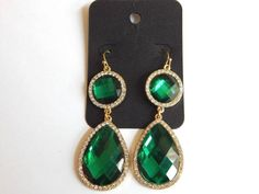 INC Gold Tone and Green Crystal Teardrop Earrings #INC #DropDangle