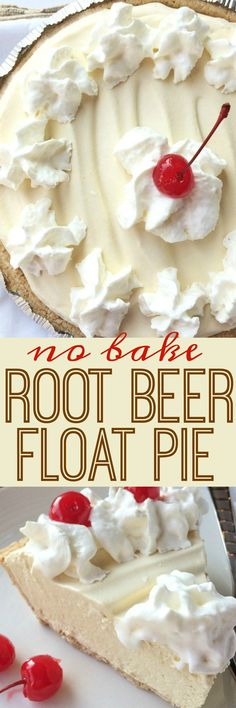 Food and Drink: Creamy, cool, light refreshing! This root beer float pie is the perfect treat on those hot sunny days. Only a few minutes of prep and then some freezer time and you have an easy, no bake pie that tastes EXACTLY like a root beer float! Beaux Desserts, 13 Desserts, Delicious Desserts, Dessert Recipes, Yummy Food, Easy Summer Desserts, Light Desserts, Apple Desserts, Homemade Desserts