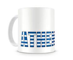 Tasse mit Athen Schriftzug. Eine Tasse bedruckt mit dem Schriftzug Athen