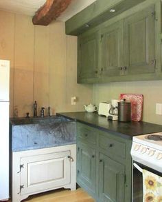 Olde Creek Cottage in PA (13); love the country stone cottage kitchen look, rustic Craftsman style,