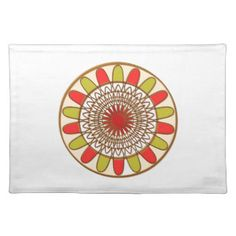 Gold Border SUNFLOWER Chakra Mandala Placemats