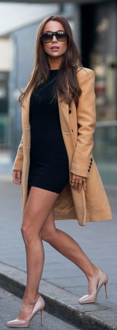 Johanna Olsson is wearing nude shoes from Christian Loboutin, black dress from Asos Petit, camel coat from Selected Femme and the sunglasses are from Yves Saint Laurent