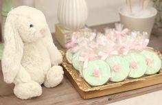 cha de bebê, baby shower, menina, girl, verde rosa e dourado, green pink and gold, cookies, bunny, coelho.