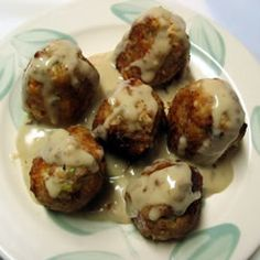 Breaded chicken patties are accessorized with onion, celery, and seasonings, then fried up and served with an easy cream sauce. Chicken Croquettes, Croquettes Recipe, Chicken Patties, Entree Recipes, Cooking Recipes, Turkey Recipes, Chicken Recipes, Planning Menu, Good Food
