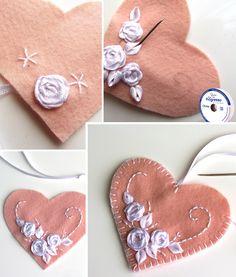 Coração de feltro bordado com fitas: passo a passo Palm Beach Sandals, Patch, Diy, Filing Cabinets, Ribbons, Diy Home, Step By Step, Creativity, Craft