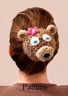 Hair Bear Bun Sock Cover By Lulu Bebeblu - Purchased Crochet Pattern - (ravelry) Crochet Hair Accessories, Crochet Hair Styles, Crochet Hooks, Knit Crochet, Crochet Headbands, Flower Bun, Crochet Faces, Crochet Animals, Crochet Projects