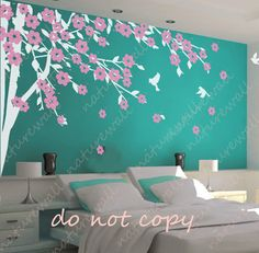 cherry blossom wall decals tree decals baby nursery kids room decor pink white girl wall decor wall art- Cherry Blossom Tree with birds via Etsy