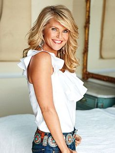 Christie Brinkley gorgeous hair, smile and white ruffle blouse and jeans with concho belt Fashion Models, Fashion Beauty, White Ruffle Blouse, Christie Brinkley, Gorgeous Hair, Beautiful, Gorgeous Women, Cameron Diaz, Great Hair