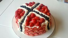 Norwegian national day cake with strawberry and blueberry