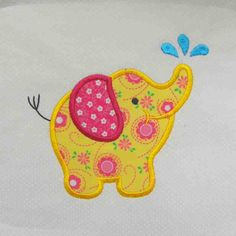 ELEPHANT Applique and Embroidered Quilt Block by by amyglitterbug, $6.99