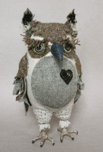 Ann Wood Hand Made Owls  Owl with a heart--maybe he's vegetarian?