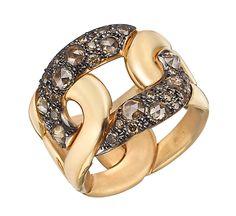 """Pomellato 18k pink gold & brown damond """"Tango"""" ring."""