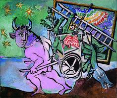 Pablo Picasso : Minotaure à la carriole, 6 avril 1936. Huile sur toile, 45,5 cm x 54,5. Succession Picasso 2015 / Collection particulière/