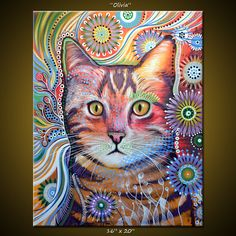 Original Abstract Painting Modern Animals Cats by AmyGiacomelli, $425.00