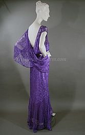 ~This elegant lace dress dating to the 1930s is a rich, beautiful shade of lilac~