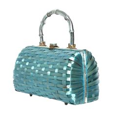 VINTAGE 1960s AQUA BLUE WICKER BAMBOO HANDLE HANDBAG