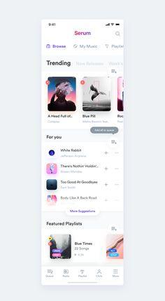 Serum Music App - Entwurf - Web und App Design - Desings World Mobile App Design, Mobile App Ui, App Ui Design, Interface Design, Flat Design, Best App Design, Design Design, User Interface, Design Thinking