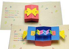 手作り絵本作り方教室 飛び出す絵本とカード バースデーカード「プレゼントボックス」