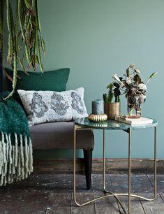 Beistelltisch messing rund Marmor Top smaragdgrün Cozy Living