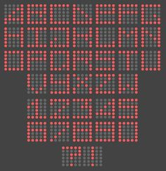 prikskrift som kan stemples med - - - prikker. En vatpint eller en midten af en afblomstret mælkebøtte kan lave fine prikker.  http://luc.devroye.org/AlexTolkach-DotFont-2012.jpg