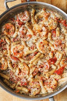 This shrimp pasta is unbelievably easy to make! Serve it for lunch or dinner for a crowd-pleasing meal.