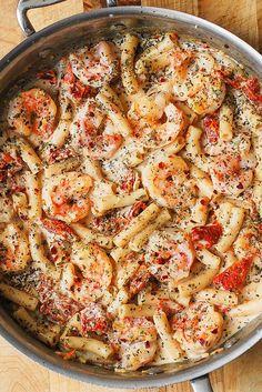 Creamy Mozzarella Shrimp Pasta