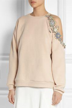 Christopher Kane Embellished cutout cotton-blend sweatshirt; embellished cold shoulder