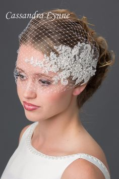 Bridal Visor Birdcage Veil with Beaded Lace Accent from Cassandra Lynne
