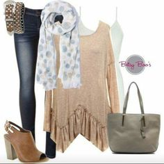 . Jeans Style, Jeans Pants, Fashion Looks, Cute Outfits, Tunic Tops, Beige, Boutique, My Style, Stylish