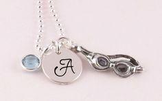Swim Initial Necklace with Sterling Silver Swim Goggles Charm and Swarovski Crystal Birthstone