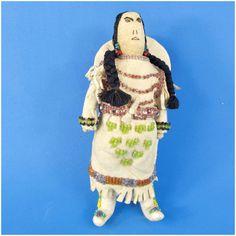 Native American Beaded Deerskin Woman  Baby in Cradleboard