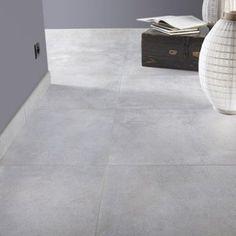Carrelage sol et mur gris brume effet béton Live l.60 x L.60 cm   Leroy Merlin