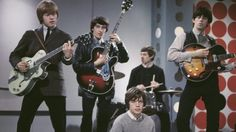 The 1963 line-up of the Rolling Stones, (left to right) Brian Jones, Bill Wyman, Mick Jagger, Charlie Watts and Richards.