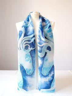 Silk scarf Stardust horse scarf skinny scarf long scarf
