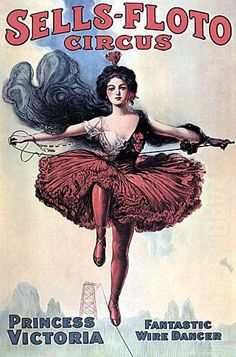 Vintage Circus Art - Victoria High Wire Act ACEO Print | eBay
