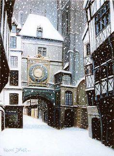 """Tableau """"Rue du gros horloge de rouen sous la neige 1"""" de Vincent Dufour - Pastel sec de 50/65cm"""