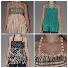 AKIKO Silk Necklace Top 100% silk necklace top is definitely different from anything in your closet. No neck jewelry is necessary when wearing it and it looks great with jeans. Sizes XS-L available in the shown colors: peach, mint and Multi. AKIKO Tops