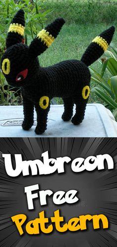Umbreon Amigurumi Crochet pattern #pokemon #amigurumipokemon #pokemoncrochet #freepatterns