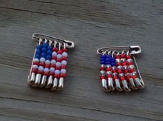 USA Beaded Flag Pin by Sapphire107 on Etsy, $3.00