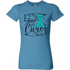 Ovarian Cancer Find a Cure Deco Women's Fitted T-Shirt - Caribbean Blue | Awareness Ribbon Shirts at Gifts4Awareness.Com