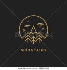 Outline vector logo of mountain. Landscape line illustration. Mountain line logo. Mountain badge. Travel logo. Nature logo. Camping logo. Mountain design element. Mountain line logo. Nature line logo.