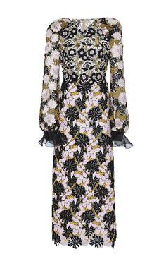 Silk Floral Macramé Embellished Dress by GIAMBATTISTA VALLI Now Available on Moda Operandi