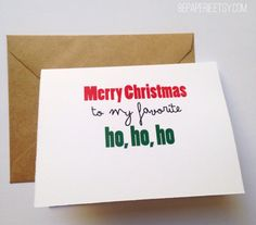 Wish your best friend a merry Christmas with a card to make her laugh. Card reads: Merry Christmas to my favorite ho, ho, ho. BEpaperie.Etsy.com #bff #christmas