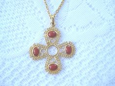 Byzantine Like Cross Pendant with Carnelian Colored Stones in Gold Tone Setting on Gold Tone Chain