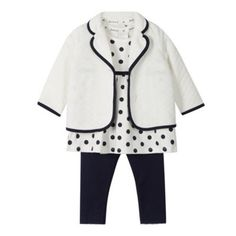 9dea985e7 J by Jasper Conran Designer babies navy spotted tunic, jacket and leggings  set